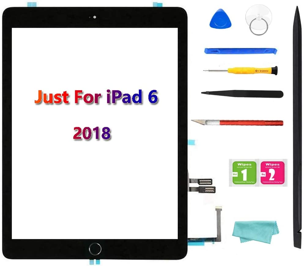 GoodFixer for iPad 6 6th Gen Touch Screen Replacement Digitizer, Only for 6th Generation A1893 A1954, with Home Button, Complete Repair Tools Kit