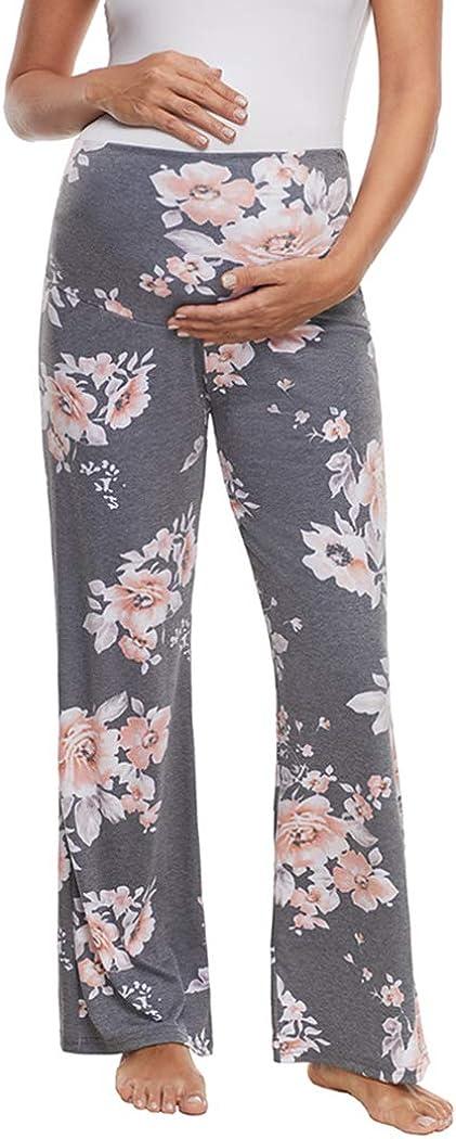 Ecavus Women's Maternity Wide/Straight Versatile Comfy Palazzo Lounge Pants Stretch Pregnancy Trousers
