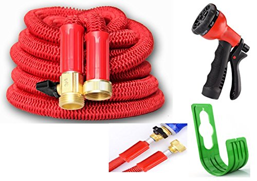 50 ft Hose-LIMITED TIME-3Layer-INCLUDE Valve,SprayGun,Hanger, 1 YR WARRANTY,BEST Premium Quality Water & Garden Flexible Expandable Hose, Pocket,Retractable,Strongest,Planet,Durable,USA Brass Conn D
