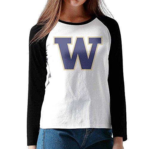 HROSE University Of Washington - W Logo Women Athletic Reglan Sleeve Crew Neck T-shirt Small (Halloween Sims 2 Part 1)