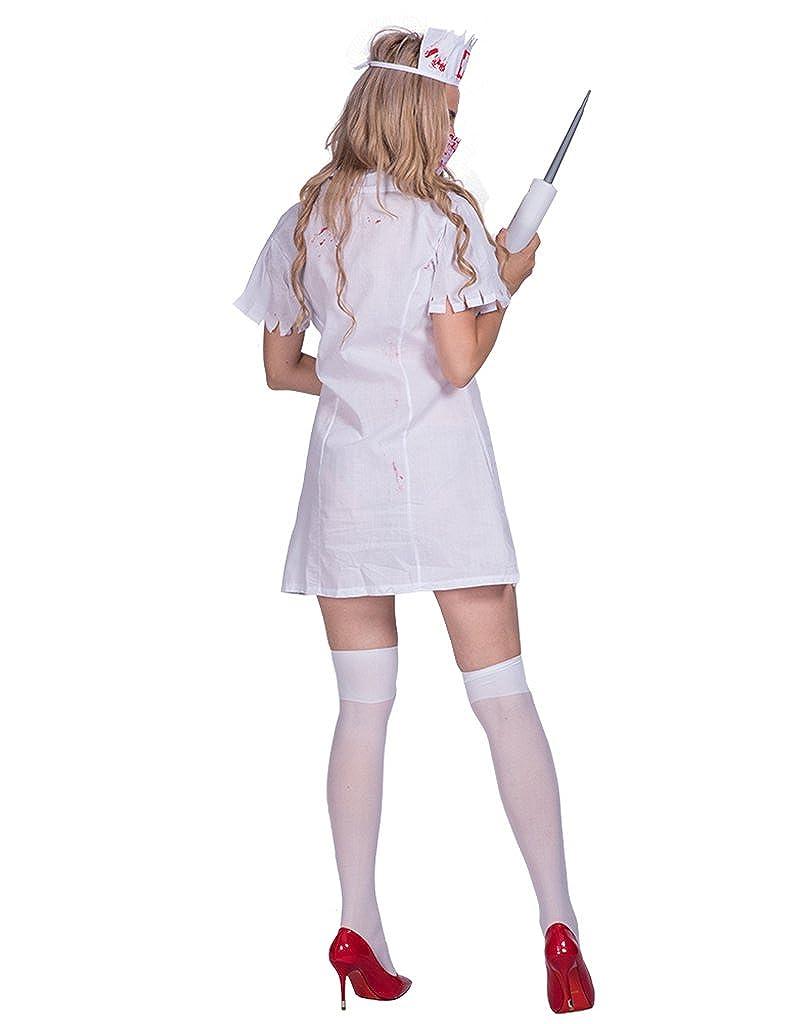 Amazon.com: DressVoguer - Disfraz de enfermera de zombi para ...