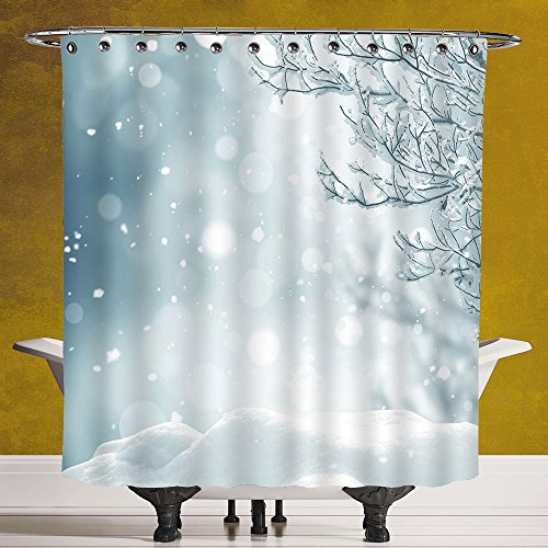 Stylish Shower Curtain 3.0 by SCOCICI [ Winter,Christmas Themed Image Snow and Frosted Tree Snowflakes Winter Season Illustration Decorative, ] Waterproof and Mildewproof Polyester Fabric Bath Curtain