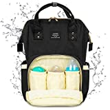 Land Diaper Bag Backpack, Large Capacity Baby Bag Backpack Stylish Maternity Multi-Function Travel Back Pack for Mom Dad, Waterproof and Durable (Black)