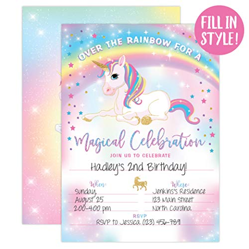 Your Main Event Prints Unicorn Birthday Invitation Party Invite 20 Fill In Style With