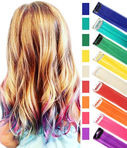 9PCS Color Hair Accessories Rainbow Hair Extensions Multi-Colors Party Highlights Colorful Clip in Synthetic Hair Extensions,Straight Long Hairpiece ()