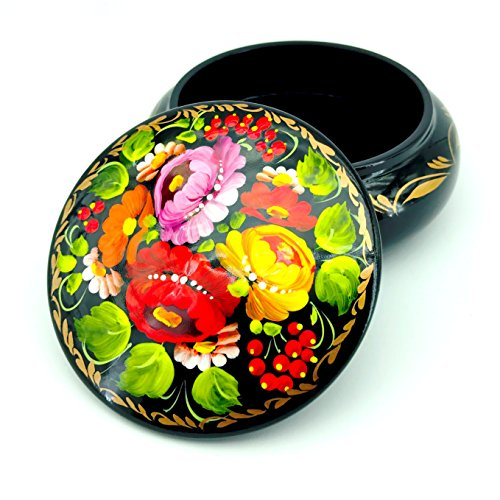 UA Creations Small Lacquer Jewelry Box for Earrings, Necklace, Rings, Hand Painted Ethnic Floral Pattern Wooden (Wooden Lacquer)