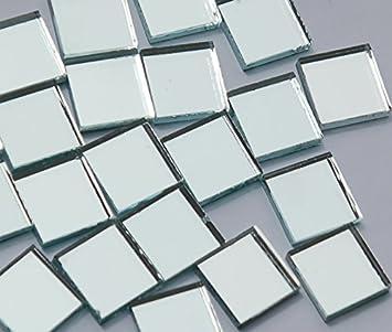 92g. 45 St/ück Spiegelmosaik silber 15x15mm ca