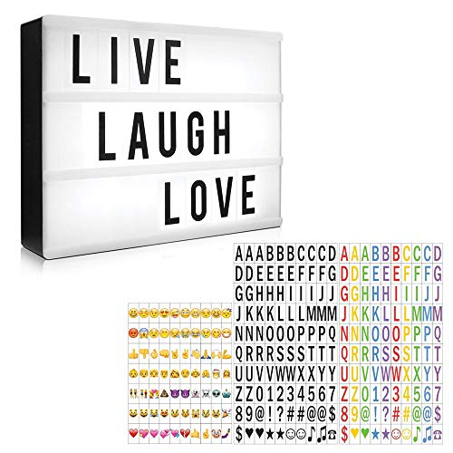 (Eutuxia Cinematic Light Box Set with 330 Decorative Letters, Numbers, and Symbols - LED Light Box, Room Decor Sign, Marquee Light Up Sign - Personalized A4 White LED Letter Box with Light Up Letters)