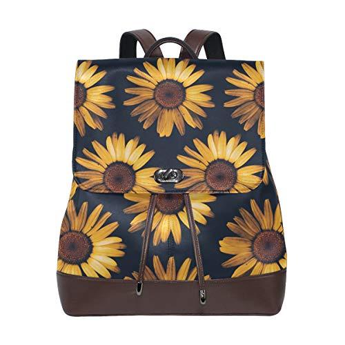 Retro Sunflower View Women's Genuine Leather Backpack Bookbag School Purse Shoulder Bag]()