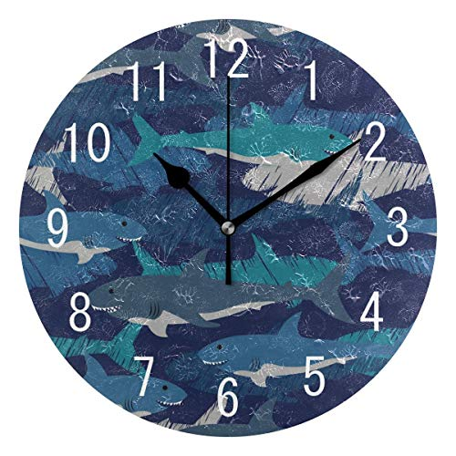 NMCEO Round Wall Clock Camouflage Shark Fish Acrylic Original Clock for Home Decor ()