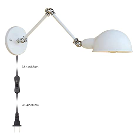 Alltrust White Wall Light Sconce Bedroom Lighting Plugin Cord E40 Stunning Bedroom Swing Arm Wall Sconces