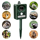 Yayoshow Solar Ultrasonic Animal Repellent,Bird Repeller,Outdoor Solar Powered Pest Repeller for Bird, Cats, Dogs, Squirrels, Moles, Rats