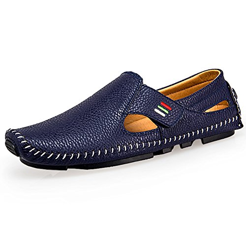 Loafer Navy Out Shoes Mens Driving Casual Soft Flats SUNROLAN Blue on Cut Leather Slip Genuine zgOnnZqcF