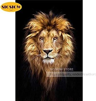 FHGFB 5D-DIY-Cabeza de león Diamante Pintura Punto de Cruz Mosaico Bordado decoración hogar Hombre Regalo Diamante sin Marco Cuadrado (40x50cm)