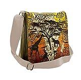 Lunarable African Messenger Bag, Animals Cultural Art, Unisex Cross-body
