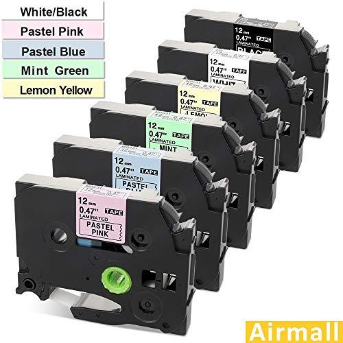 (Airmall 6 Pack Compatible TZ TZe Label Tape 12mm 0.47Inch (White/Black/Pastel Pink/Blue/Mint Green/Lemon Yellow) for TZe-231 335 MQG31 MQ531 MQE31 MQY31 for P-Touch Label Maker PT-H110,PT-D210)