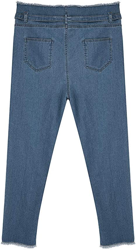 PXiong Women Denim Jeans Stretch Pants High Waisted Loose Bow Bandage Hole Pants