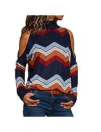 SJLee Clothes T-Shirt Women Fashion Cold Shoulder Blouse Geometric Floral Jumper Ladies Top