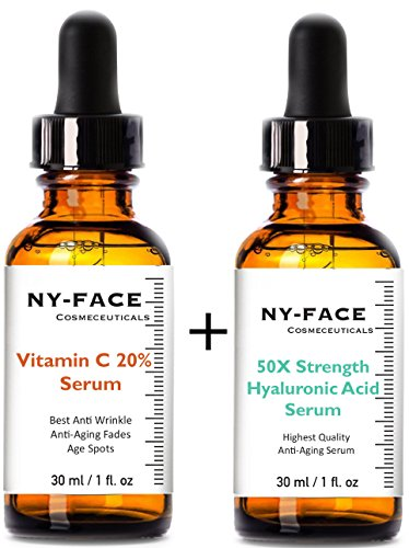 NY FACEs Vitamin C 20% Serum & 50x strength Hyaluronic Acid Serum with Vitamin C, Vitamin E SET