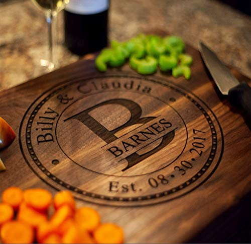 Anniversary Gifts or Wedding Gift - for couple or bride. Personalized Cutting Board, Engagement Gift, Anniversary gifts for Men, Gift for her, Wooden Cutting Board, Present For bride and groom or mom (Best Gift For Husband On First Wedding Anniversary)