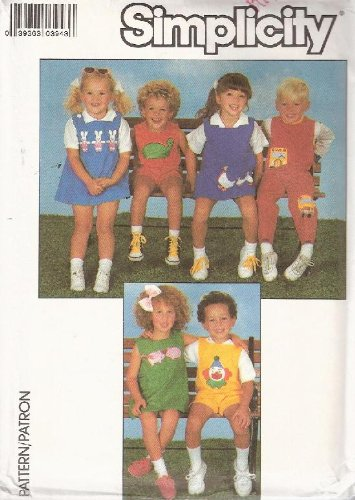 - Simplicity 8510 Children's Overalls or Jumper with Cute Transfers - Size N (2-3-4)