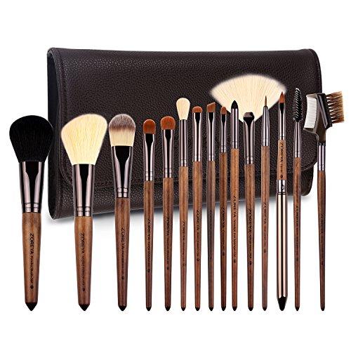 ZOREYA Makeup Brushes Set Walnut Professional Synthetic 15pcs High End Make up Brush Set For Cosmetic Make Up Contouring Powder Contour Foundation Eyebrow Eye shadow with Brush Case Holder