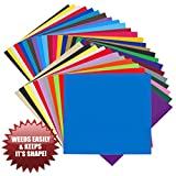 Permanent Adhesive EASY to WEED RELEASE Vinyl - 35 SHEETS of 30.5cm x 30.5cm Non-Stretchy, Made in USA for Cricut, Silhouette Cameo, Oracal Vinyl Cutters, Printers, Letters, Decals, Signs by Angel Crafts