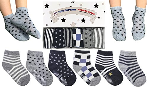 Tiny Captain Toddler Boy Non Slip Socks, Best Gift For 1-3 Year Old Boys Baby Boy Gifts Anti Slip Non Skid Grip Socks Birthday Gift Set