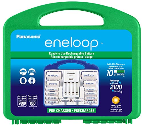 (Panasonic KJ17MCC82A eneloop Power Pack, 8AA, 2AAA, 2 C Adapters, 2 D Adapters, Advanced Individual Battery Charger and Plastic Storage Case (case color may vary))