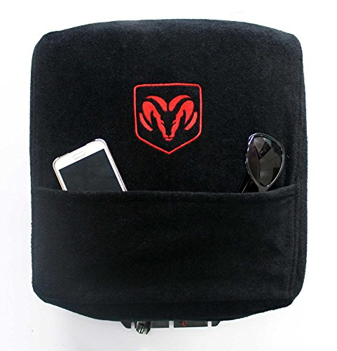 Cover Console - Seat Armour Custom Fit Officially Licensed Center Console Cover with Ram Embroidered Logo for Select Ram Models - (Black)