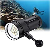 DOMINTY Diving Flashlight 25000LM 15x XM-L2+6X Red+6X UV LED Photography Video Scuba Dive Light Submarine Rechargeable Waterproof Underwater 100M Torch Handheld Flashlight(Light+ Stand 1)