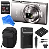 Canon PowerShot ELPH 360 Digital Camera w/ Wi-Fi & NFC Enabled (Silver) ESSENTIAL BUNDLE - Digital Camera Case + 32GB SD Card + Extra Battery & Battery Charger Kit + DigitalAndMore Micro Fiber Cloth