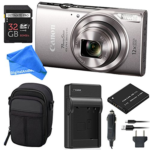 Canon PowerShot ELPH 360 Digital Camera w/Wi-Fi & NFC Enabled (Silver) Essential Bundle – Digital Camera Case + 32GB SD Card + Extra Battery & Battery Charger Kit + DigitalAndMore Micro Fiber Cloth