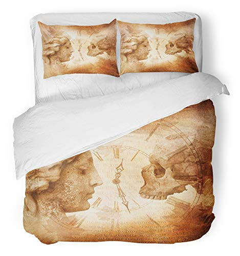 Emvency 3 Piece Duvet Cover Set Breathable Brushed Microfiber Fabric Memento Mori Montage with Female Profile Facing Skull Across Antique Clock Against Bedding Set with 2 Pillow Covers Twin Size