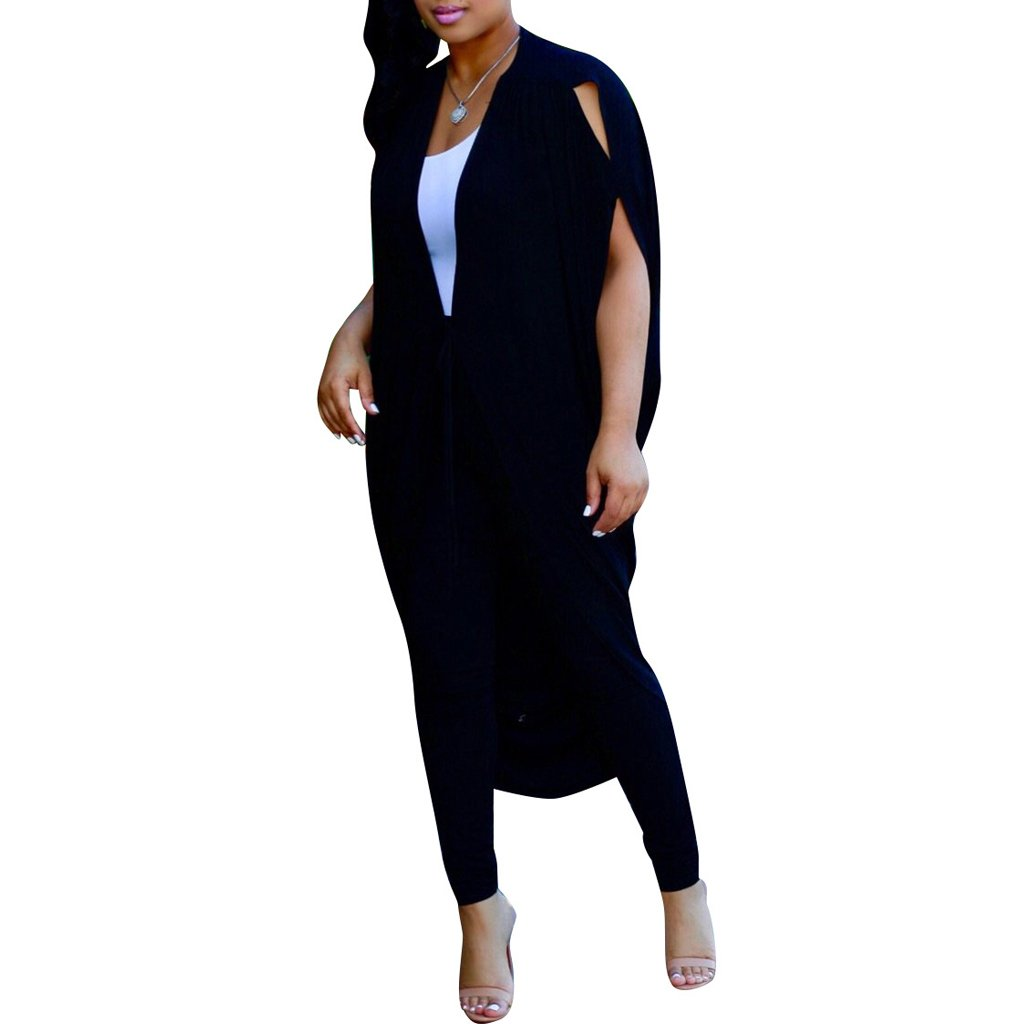 2 Piece Outfits for Women Casual Batwing Sleeve Cape Cover up Skinny Long Pants Set Clubwear Black 3XL