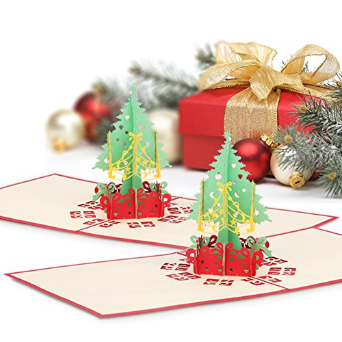2 Pack Christmas Pop up Cards, Wimaha Christmas Tree Merry Christmas Card for Christmas Day New Year Greeting Gift Card (Stationery Christmas Cards)