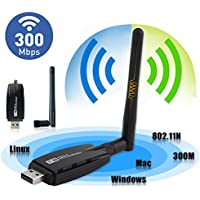 EEEKit Wireless USB Wifi Adapter, 300Mbps Wireless USB WiFi Adapter Dongle Network LAN Card 802.11b/g/n w/Antenna for Computer PC Laptop Win XP/7/8/10,MAC,Linux,Android