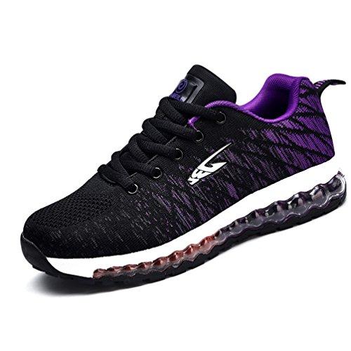 Course Adulte violet Mixte Bulle Chaussure Formateur Sport Antidérapant Chaussure Fitness Running de Athlétique LFEU noir de D'Air Légère Textile Cycliste PdHnB