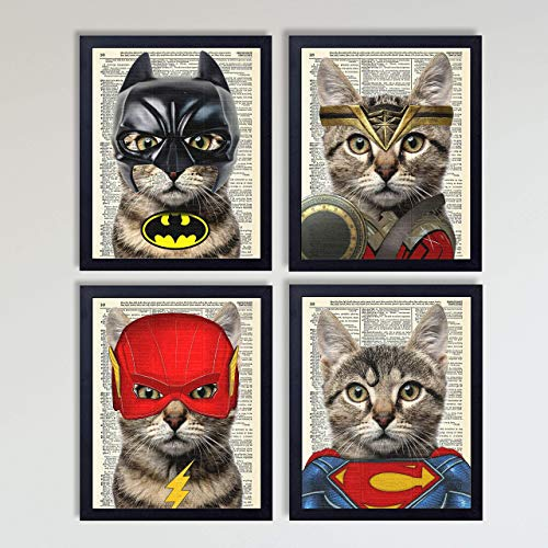 Justice League Superhero Cat 4 Piece Set, Batman, Wonder Woman, Superman, Flash Cat Art Prints Kids Bedroom Decor on Vintage Dictionary Book Pages, Children's Room Art 8x10 inches each, Unframed