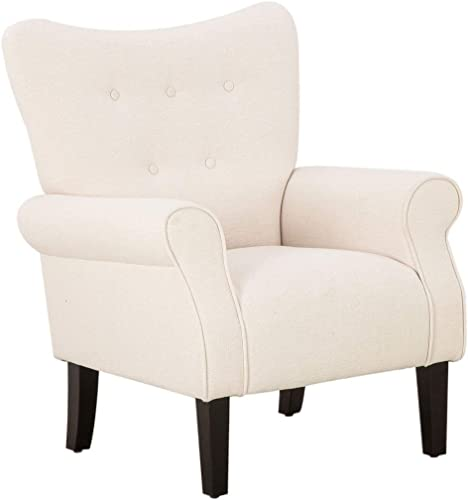 Reviewed: Mellcom Mid Century Wingback Arm Chair,Modern Upholstered Fabric High Back Accent Chair