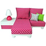 18 Inch Doll Furniture Play Set: White Chaise, Chair, Ottoman, Lamp,