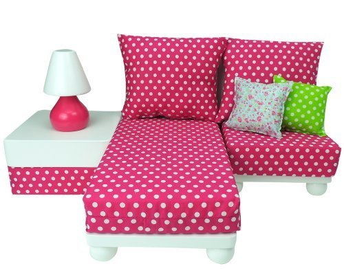 "18 Inch Doll Furniture Play Set: White Chaise, Chair, Ottoman, Lamp, Hot Pink/White Polka Dot Cushions, 2 Pillows. Perfect for 18"" American Girl Dolls & More! 18"" Doll House Furniture by Sophia's"