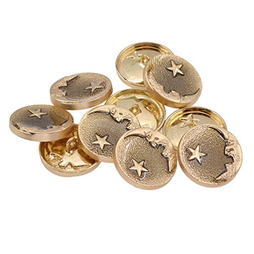 Vintage Crescent Moon Star Buttons Night Sky Shank Buttons Clothes Craft 10 (Gold Star Button)