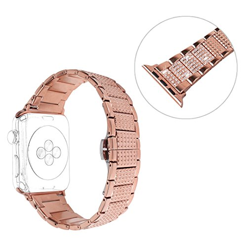 Style Bling Watch (For iWatch Bands 42MM, Rosa Schleife Apple Watch Bands 42mm Sparkle Bling Glitter Diamonds Stainless Steel Smart Watch Replacement Band Women Men for Apple Watch Series 3/2/1 Sport Edition-Rose Gold)