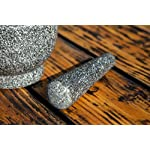 Jamie Oliver Mortar and Pestle 10 Granite mortar and pestle allows for quickly crushing spices, herbs and more Constructed with thick walls and base to form a generous 2 cup capacity Unpolished mortar interior-exterior and pestle for effective grinding