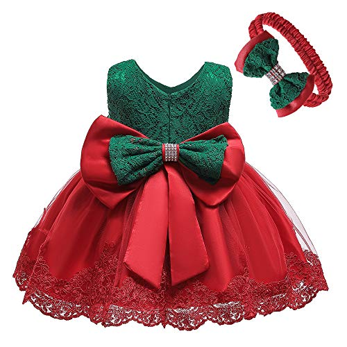NSSMWTTC Baby Girl Ball Gown Dress Infant Birthday Party Christmas New Year Dresses Toddler Christmas (Green Red,6M) (Dresses Red Christmas Green And)
