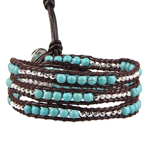 KELITCH Created Turquoise Silver Plated Mix Beaded 3 Wraps Bracelet Handmade Cuff Bracelets New Jewelry