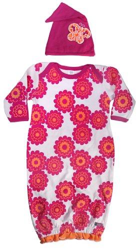 sozo-baby-girls-newborn-butterfly-gown-and-cap-set-white-fuchsia-orange-0-6-months