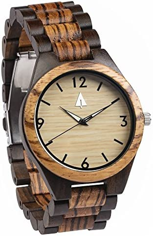 Treehut Zebrawood and Ebony Wooden Men s Watch Tri-Fold Clasp Stainless S.
