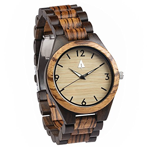 Treehut Zebrawood and Ebony Wooden Men's Watch – Tri-Fold Clasp – Stainless S... by treehut